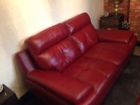 Genoa Red Leather Two Seater Sofa