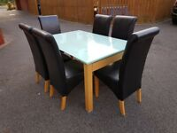 White Glass Extending Table & 6 Montana Leather Chairs FREE DELIVERY 251