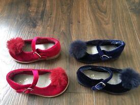 Blue and red Pom Pom shoes NEXT