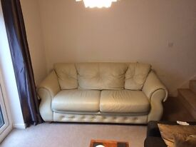 2 Seater Cream Leather Sofa - very good condition & quality