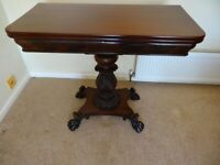 VICTORIAN FOLD OVER MAHOGANY CARD TABLE
