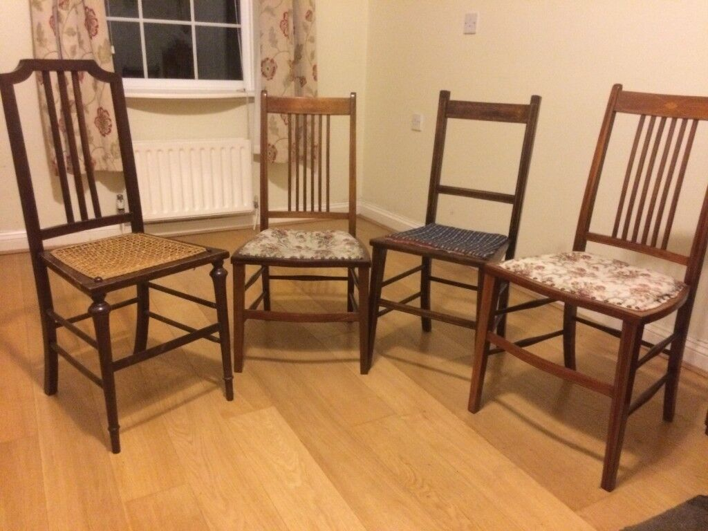 Four Edwardian Chairs Ideal For Bedroom Sitting Room Good Order Will Separately At 8 Each