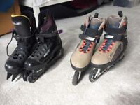 Cappuccino coloured Bauer inline skates with free black Bauer inline skates both size 11