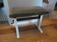 An Elegant Adjustable White Yamaha Piano Stool with mohair velour seat
