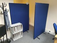7 Office Partitions - 5 Pedstal Desks - Chairs & Filing Cabinets.