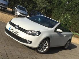 WHITE VW GOLF CONVERTIBLE 1.6TDI 2013