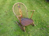 Beautiful Hardwood Rocking Chair with bow back
