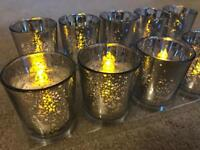 ***BULK LOT 75 SILVER MIRROR TEA LIGHT HOLDERS & LED CANDLES WEDDING PARTY TABLE CENTREPIECES***