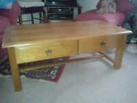 Solid oak coffee table,two drawers never been used