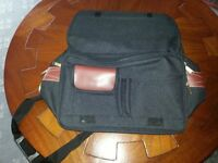 Carlton Luggage Cabin Bag with Shoulder Strap Black Canvas with Brown Trim