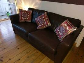 2 seated brown leather couch/sofa (correct mobile number now listed)