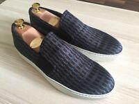 BNIB Luxury Lanvin Navy Jaquard Slip On mens sneakers, silk, calfskin 43/uk9, RRP £310