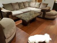 perfect condition, corner sofa bed, swivel 2 seater & pouf. Marble coffee table and lamp table