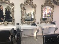 New salon furniture Package white reception desk counter chairs hairdressing nail table manicure