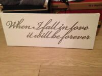 """""""When I fall in love it will be forever"""" wall canvas"""