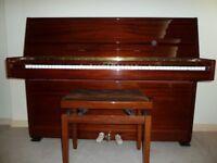 LOVELY STEINMAYER S108 UPRIGHT PIANO IN MAHOGANY POLISH + MATCHING HEIGHT ADJUSTABLE PIANO STOOL