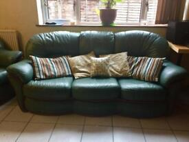 Green faux leather sofa set | Comfortable | Excellent condition