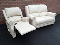 LEATHER SOFA SUITE - 2 seater sofa and riser recliner chair. Can deliver