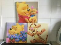 DISNEY WINNIE THE POOH 3 MATCHING CANVAS WALL PRINTS - IDEAL FOR NURSERY