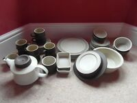 Purbeck Pottery - Brown Diamond design. Plates, bowls, cups &saucers, teapot etc