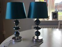 2x jade coloured bedside lamps