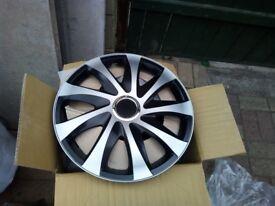 "Sport Wheel Trim BLACK-SILVER set of 4 Hub Cap Universal Wheel Covers 16"""