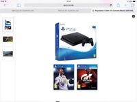 PS4 Slim 1TB Console (Black) + FIFA18 and GT Sport BNIB