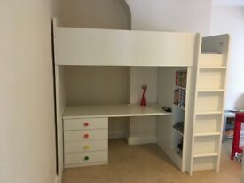 Ikea Loft Bed (Single), desk & storage unit.