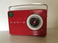 Marks & Spencer Red Retro Radio Biscuit Tin