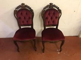 Pair of reproduction Victorian red velvet chairs