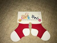 Red Sock Ons 0-6 months - NEVER BEEN USED
