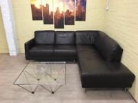 Comfy Stylish Brown Leather Corner Sofa