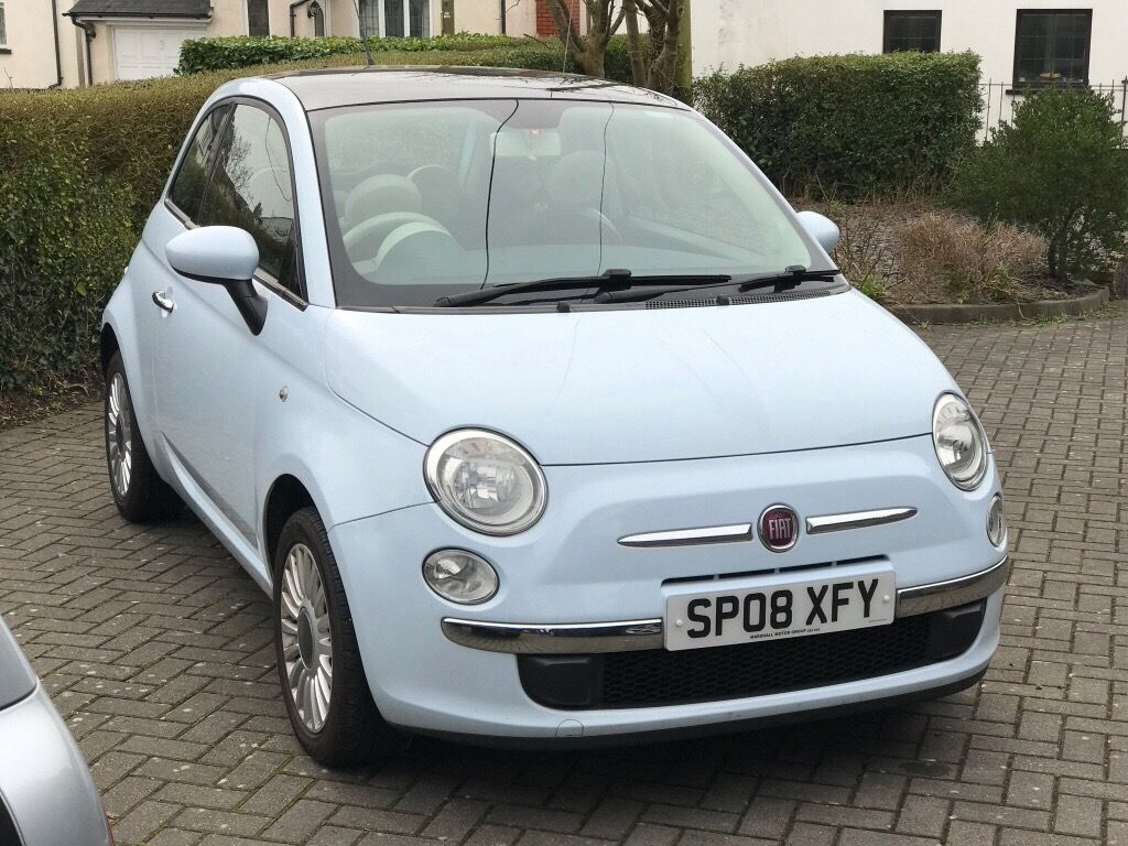 fiat 500 lounge azure blue tan leather seats panoramic. Black Bedroom Furniture Sets. Home Design Ideas