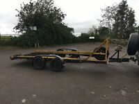 Twin Axle Braked Car Transporter Trailer with winch, ramps and wheel rack track car banger racing