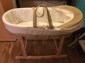 Moses Basket, rocker stand, mattress and sheets
