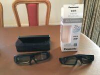 2X Panasonic 3D Active Shutter Glasses:- 1)TY-EW3DM and 1 TY-EW3D2M