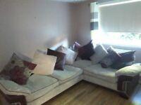 Corner Sofa + Love Chair. Brown + cream fabric. Buyer must uplift. Quick sale.