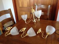 Polished brass ceiling pendant and matching 3 x wall lights