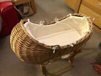 Mothercare Wicker Moses Basket and rocker stand.