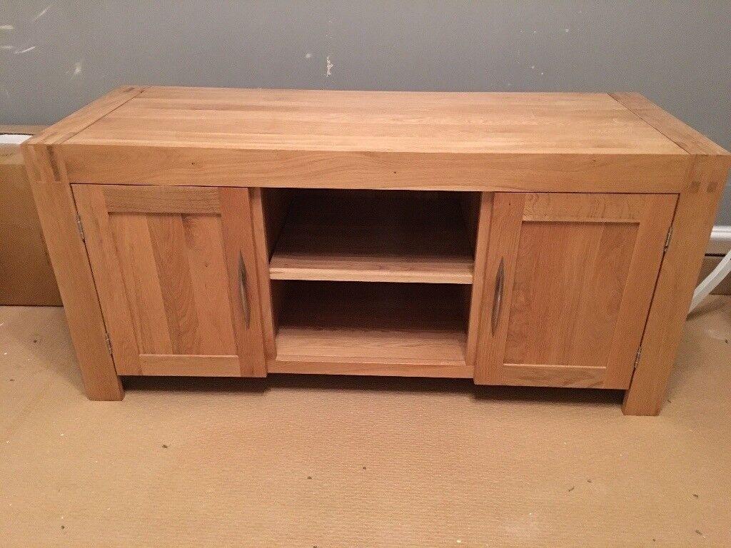 Alto Solid Natural Oak Large Tv Cabinet