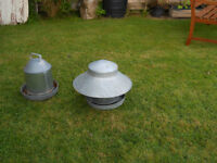 GALVANISED CHICKEN DRINKER AND FEEDER - IN A USED CONDITION.