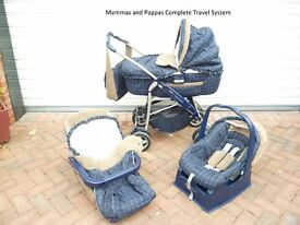 Mammas and Pappas Complete Pram, Carry Cot, Car Seat and Pushchair System