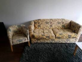 Cheap wide 2 seater sofa with single arm chair for sale.