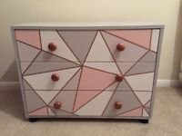 Upcycled rose gold chest of drawers