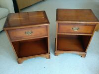 Two antique wooden bedside tables - single drawer, good condition, bedroom furniture table