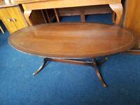 Mahogany Inlaid Oval Coffee Table