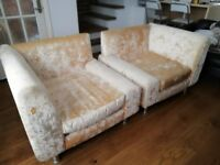 Three piece living room set. Good condition. 2 seater Sofa and armchairs