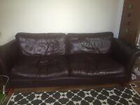 Large Leather 3 Seater Sofa (Dark Brown)