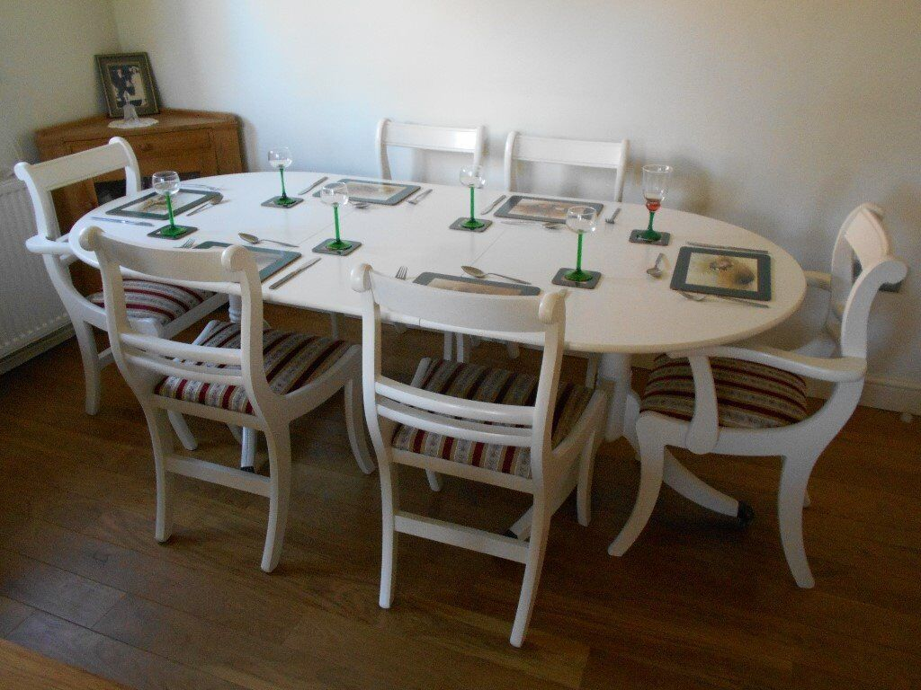EXTENDING TABLE AND SIX CHAIRS PAINTED COUNTRY WHITE