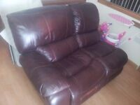 Three seater reclining brown leather sofa with free delivery